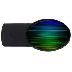 Blue And Green Lines Usb Flash Drive Oval (2 Gb)