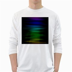 Blue And Green Lines White Long Sleeve T Shirts