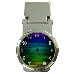 Blue And Green Lines Money Clip Watches
