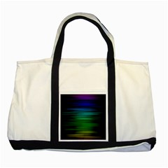Blue And Green Lines Two Tone Tote Bag