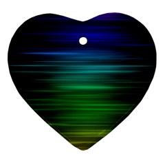 Blue And Green Lines Heart Ornament (two Sides)