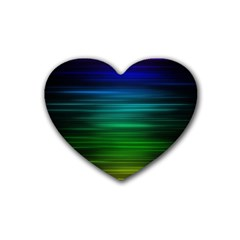 Blue And Green Lines Heart Coaster (4 pack)