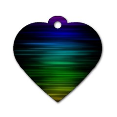 Blue And Green Lines Dog Tag Heart (Two Sides)