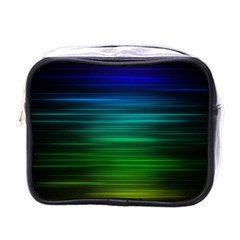 Blue And Green Lines Mini Toiletries Bags