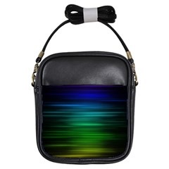 Blue And Green Lines Girls Sling Bags