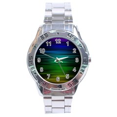 Blue And Green Lines Stainless Steel Analogue Watch