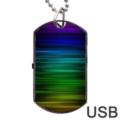 Blue And Green Lines Dog Tag USB Flash (One Side)