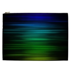 Blue And Green Lines Cosmetic Bag (XXL)