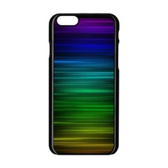 Blue And Green Lines Apple Iphone 6/6s Black Enamel Case
