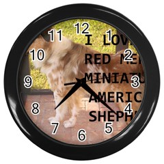 Mini Australian Shepherd Red Merle Love W Pic Wall Clocks (black)