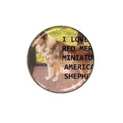 Mini Australian Shepherd Red Merle Love W Pic Hat Clip Ball Marker (10 pack)
