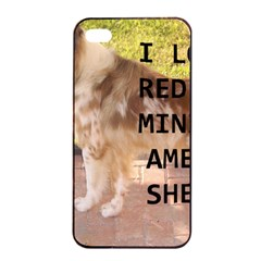 Mini Australian Shepherd Red Merle Love W Pic Apple iPhone 4/4s Seamless Case (Black)