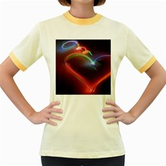 Neon Heart Women s Fitted Ringer T-Shirts