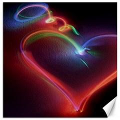Neon Heart Canvas 16  x 16