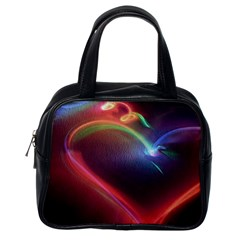 Neon Heart Classic Handbags (one Side)