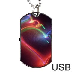 Neon Heart Dog Tag Usb Flash (two Sides)