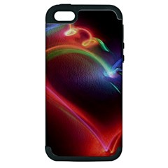 Neon Heart Apple Iphone 5 Hardshell Case (pc+silicone)