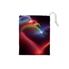 Neon Heart Drawstring Pouches (small)