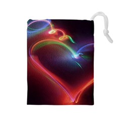 Neon Heart Drawstring Pouches (large)