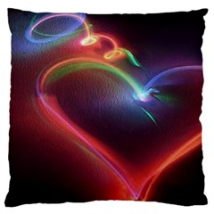 Neon Heart Large Flano Cushion Case (one Side)