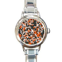 Camouflage Texture Patterns Round Italian Charm Watch