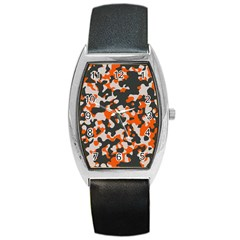 Camouflage Texture Patterns Barrel Style Metal Watch