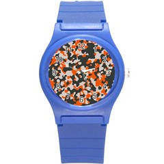 Camouflage Texture Patterns Round Plastic Sport Watch (s)