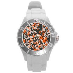 Camouflage Texture Patterns Round Plastic Sport Watch (l)
