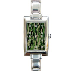 Green Military Vector Pattern Texture Rectangle Italian Charm Watch