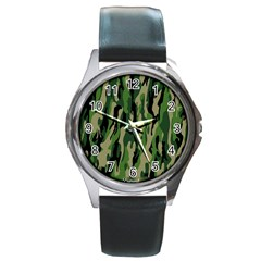 Green Military Vector Pattern Texture Round Metal Watch
