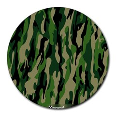 Green Military Vector Pattern Texture Round Mousepads