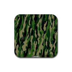 Green Military Vector Pattern Texture Rubber Square Coaster (4 pack)
