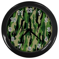 Green Military Vector Pattern Texture Wall Clocks (Black)