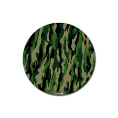 Green Military Vector Pattern Texture Rubber Round Coaster (4 Pack)