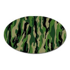 Green Military Vector Pattern Texture Oval Magnet