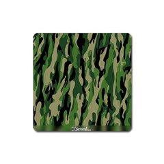 Green Military Vector Pattern Texture Square Magnet