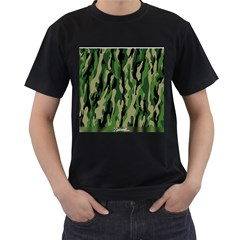 Green Military Vector Pattern Texture Men s T-Shirt (Black) (Two Sided)