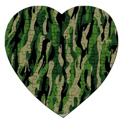 Green Military Vector Pattern Texture Jigsaw Puzzle (heart)