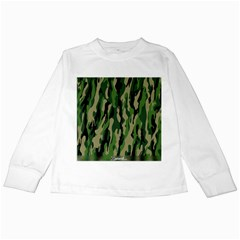 Green Military Vector Pattern Texture Kids Long Sleeve T-Shirts