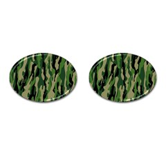 Green Military Vector Pattern Texture Cufflinks (oval)