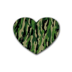 Green Military Vector Pattern Texture Heart Coaster (4 Pack)