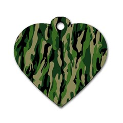 Green Military Vector Pattern Texture Dog Tag Heart (Two Sides)