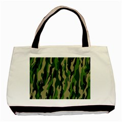Green Military Vector Pattern Texture Basic Tote Bag (Two Sides)