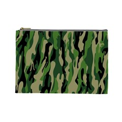 Green Military Vector Pattern Texture Cosmetic Bag (Large)