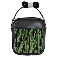 Green Military Vector Pattern Texture Girls Sling Bags