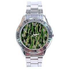 Green Military Vector Pattern Texture Stainless Steel Analogue Watch