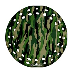 Green Military Vector Pattern Texture Round Filigree Ornament (Two Sides)