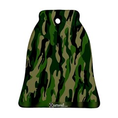 Green Military Vector Pattern Texture Bell Ornament (two Sides)