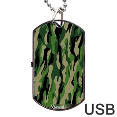 Green Military Vector Pattern Texture Dog Tag Usb Flash (two Sides)