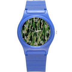 Green Military Vector Pattern Texture Round Plastic Sport Watch (s)
